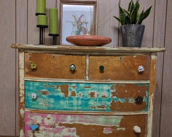 Funky Rustic Distressed Dresser/Chest of Drawers