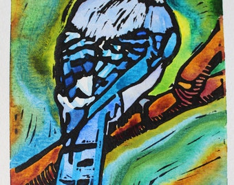 Hand Watercolored Blue Jay Linoleum Block Print