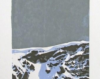 Ephemeral ledge at St - Luc / linocut / Alps /.