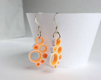 Quilled Paper multi-circle drop earrings in orange and white, sterling silver hooks, quilled paper art earrings, fun modern drop earrings