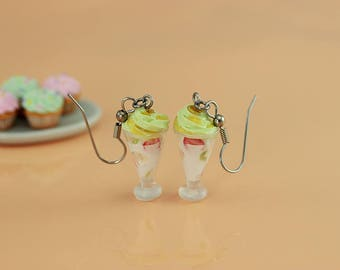 Green Tea Frozen Yogurt Earrings