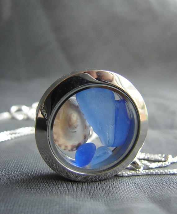Porthole sea glass locket in blue