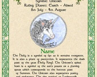 Celtic Zodiac Signs Druid Tree Lore Lunar Astrology Art Print 11x14 April August Birthday Gift Sea Dragon Chalice White Horse Unicorn Pagan