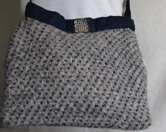 Shoulderbag  purse hip bag  women fashion blue gray  fair isle design