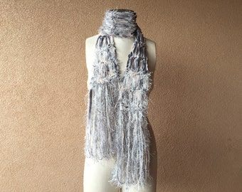 Ribbon and Fringe Scarf in Cream, Charcoal, Grey, Silver Gray, Fashion Accessories for Women by CricketsKnits