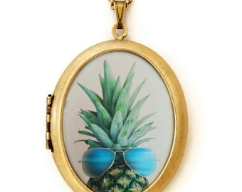 Photo Locket - Pineapple In Paradise - Deluxe Photo Locket Necklace