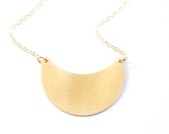 Minimalist Crescent Moon Necklace - Brass | Stainless Steel | 14k Gold Filled | Sterling Silver