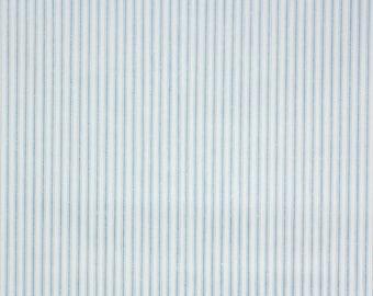 1960's Vintage Wallpaper - Blue and White Pillow Ticking Stripe