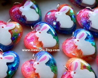 Easter Gift Necklace, Easter Bunny Jewelry, Easter Girls Jewelry, Girl Easter Gift, Bunny Necklace Jelly Bean Colors Heart Charm by isewcute