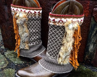 Sacagawea Tribal STARLIGHT Boots, Fair Isle Boot Sweaters, Soft Fur Trim, Leather Fringe, Women's Dingo Western Boots Size 7.5