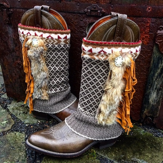 Sacagawea Tribal Boot Sweaters, Fair Isle Pattern, Soft Fur Trim, Handcut Leather Fringe, Ready to ship to you