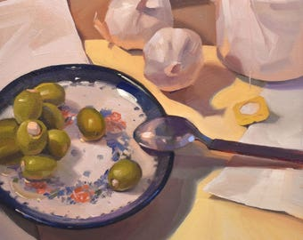 """Art painting fruit still life """"Green Olives and Tea"""" original oil by Sarah Sedwick 12x12"""""""