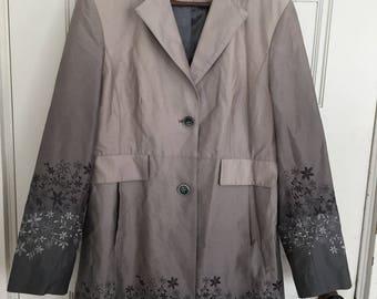 Vintage Coat Perry Ellis Portfolio Woman'sCotton Trench Coat Gray Brown Size M Medium, Womens Spring Trench Coat Pockets Gradient Color