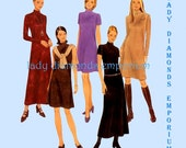 McCalls 8988 Womens High Neck A-line Dress in 2 Lengths size 10 12 14 Vintage Fashion Basics Sewing Pattern Uncut FF