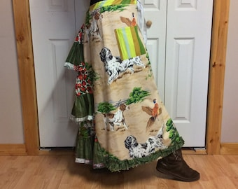 Long Bustle Skirt with Pockets/Plus Size Skirt/Cotton Skirt/Country Western/Southern/Hunting Dogs Print/Skirts for Women Size Large to XL
