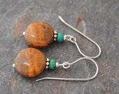 Turquoise and Brown Jasper Earrings