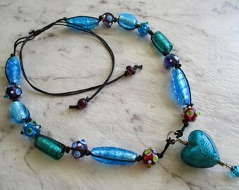Big Chunky Electric Blue Green and Turquoise Foiled Glass Bead Necklace with Teal Puffy Glass Heart Adjustable up to Long, Colorful Necklace