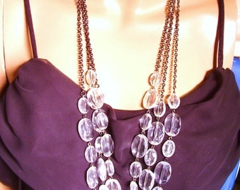 Silver tone 3 Strand Clear Crystal Bead Chain Necklace
