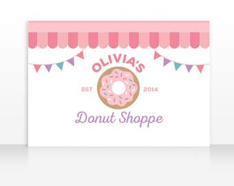 Donut Party Decorations, Donut Shop Birthday Banner Backdrop, Donut Theme, 60x40 inches HIGH RESOLUTION FILE