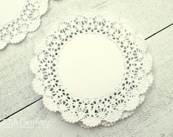 """4"""" Fancy Paper Lace Doilies - Set of 25"""