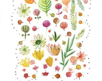 Watercolor flower print, Flower poster, Flower illustration, Flower wall art print, Botanical nature plant art, Kid room, Whimsical flower