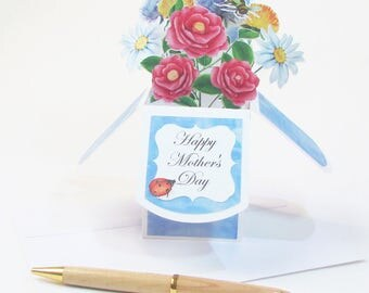Happy Mother's Day Pop Up Greeting Card - Best Mom Ever - Birthday Pop Up Card - Floral Greeting Card - Gift Card Holder - Gift For Mom