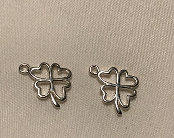 Shop Sale.. CLOVER Charm Pendants, 4 Four Leaf Clover, 925 Sterling Silver, 1 pc, 17x10.5 mm, st patricks good luck charm irish sf.clover