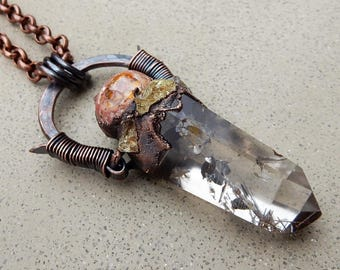 Tribal Amulet with Inclusion Clear Quartz Wand, Fire Opal, and Yellow Apatite for Spirit Guides, Protection, Manifesting…