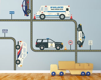 Five Police Cars Vehicles Wall Decals w/Straight & Curved Gray Road, Eco-Friendly Fabric Wall Stickers Removable Repositionable