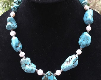 Large Pendant  Statement  Necklace in Turquoise and Magnesite  Stones and Pearls with Sterling Silver bali style and sterling Chain