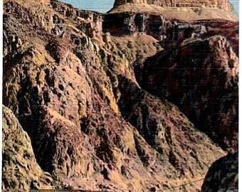 Vintage Arizona Postcard - Zoroaster Temple, Colorado River and Black Bridge at the Grand Canyon (Unused)