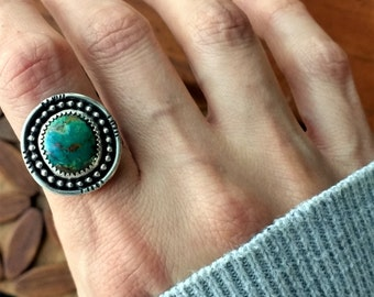Kingman Turquoise Boho Sterling Stamped Ring - Size 6.75 - bohemian hippie gypsy oxidized ponderbird