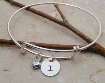 Sterling silver initial bracelet - expandable bangle bracelet  - Letter bracelet - Adjustable bracelet - Sterling silver charm bracelet