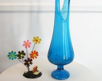 Vintage LE SMITH Swung Vase - Simplicity Line - Turquoise Blue