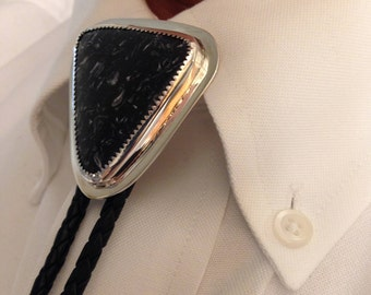Men's Bolo Tie - Brecciated Shell in Shale - Handmade - One of a Kind