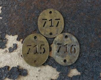 Brass Stencil FRENCH Hotel Room KeY FOB Tag, Vintage Patina, Charm No 715 716 717