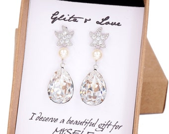 Starfish - Cubic Zirconia Starfish Earrings Swarovski Crystal Teardrop, gift for her, Bridal, Beach Wedding  Bridesmaids, silver E36