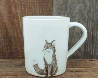 Large White Fox Mug. 12 oz Red Fox Coffee Mug. Handmade Porcelain High Fired Mug, Icy White Glaze by SKT Ceramics on Etsy