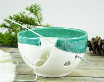 White Mint Green Yarn bowl, Knitting Bowl, READY TO SHIP, Low Price, Small Ceramic Yarn holder, Inexpensive Portable Crochet bowl, 4 holes