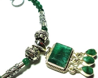 Emerald Necklace w Emerald Beads in Sterling Genuine Rough Cut Emerald Large Faceted Rectangle Jewel w Emerald Drops and Sterling Bali