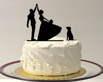 MADE In USA, High Five Wedding Cake Topper + Peg Dog, Silhouette Wedding Cake Topper, Bride and Groom Wedding Cake Topper, Silhouette Love