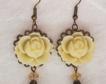 Antique White Rose Earrings, Pale Yellow Pearl Earrings, Cream Rose Earrings, Bronze Earrings, Victorian Earrings, Dangle Earrings