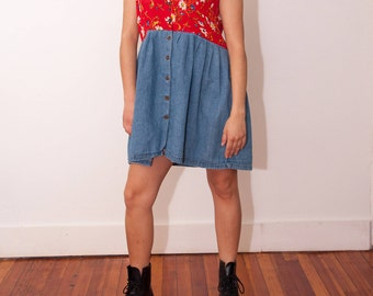 Vintage Floral and Denim Sleeveless Dress - 90s Grunge Dress - Vtg 90s Flower Pattern Dress - Size Medium Large - Gift For Her