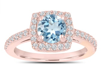 Aquamarine Engagement Ring, With Diamonds Wedding Ring 14K Rose Gold 1.24 Carat Certified Pave Halo Handmade
