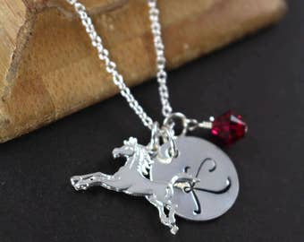 Horse Jewelry Necklace, Personalized Gift Idea for Horse Lover, 925 Sterling Silver