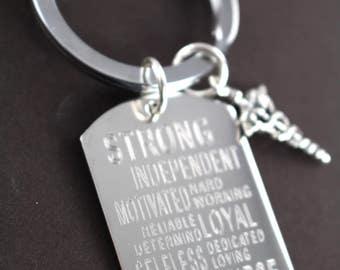 Male Nurse Gifts , Graduation Gift for Nurse , White Coat Ceremony Gift , Key Ring Personalized Engraved Custom