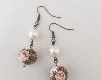 Roses and White Pearls Earrings