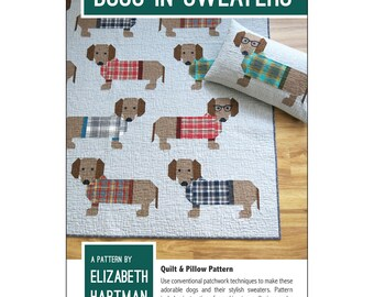 """QUILTING FUN (Quilt Pattern): """"Dogs in Sweaters"""" - Design by Elizabeth Hartman"""