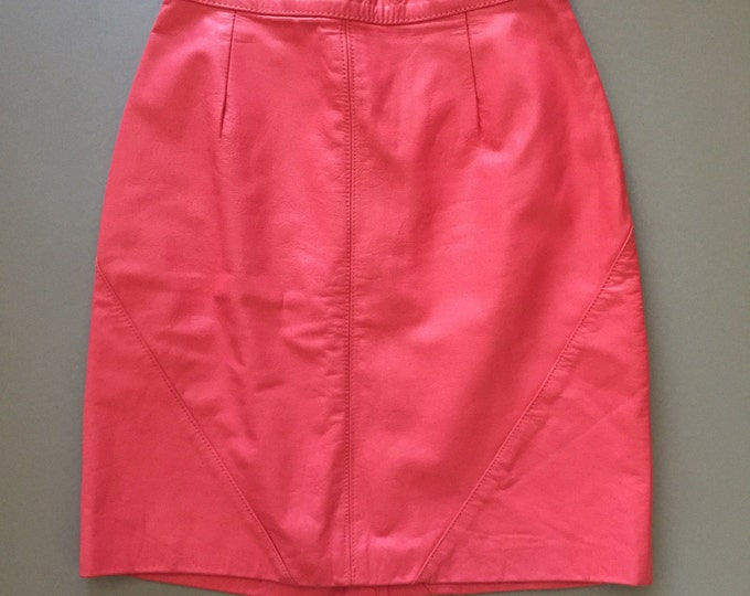 coral pink leather high waist vintage 90s pencil skirt 1990s club kid hipster size 9 10 medium M large L