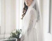 Two tier veil - Bridal veil - Wedding veil with blusher - English net wedding veil
